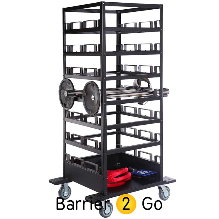 Horizontal 21 Retractable Belt Barrier Storage Cart